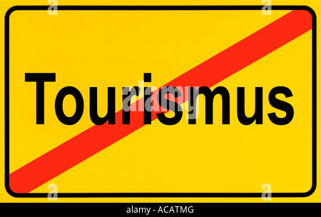 German city limits sign symbolising end of tourism - Stock Photo