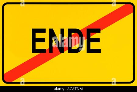 German city limits sign symbolising ending