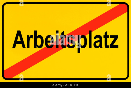 German city limits sign symbolising unemployment - Stock Photo