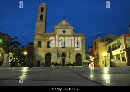 Orthodox Cathedral Trimartyri on main square in Chania (Hania) city on Crete island, Greece - Stock Photo
