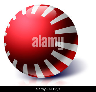 Naval ensign of Japan land of the rising sun as a glass ball - Stock Photo