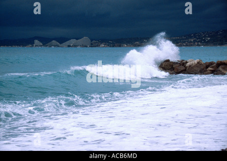 Mediterranean sea during a storm Nice France - Stock Photo