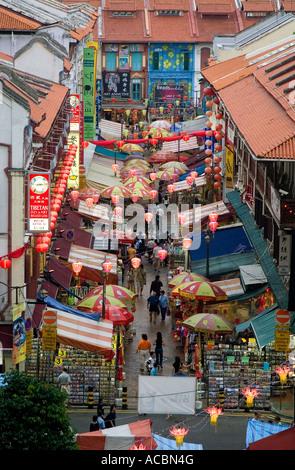 Singapore - The night market in Chinatown - Stock Photo