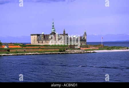 Kronborg Slot Elsinore Denmark from the seaside - Stock Photo