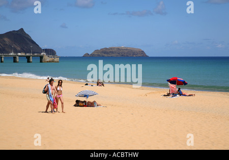 Porto Santo - Porto Santo Beach, The beautiful white sand beach - Stock Photo