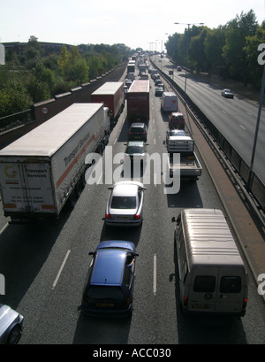 day Rush hour on the A406 North Circular Road traffic jam highway motorway London England Britain United Kingdom - Stock Photo