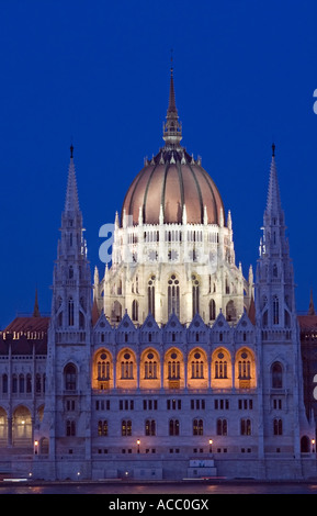 Parliament Building At Night In  Budapest The Capital  Of Hungary. - Stock Photo