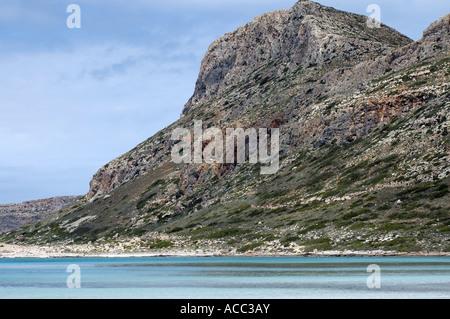 Balos beach on western Gramvoussa peninsula of island of Crete in Greece - Stock Photo