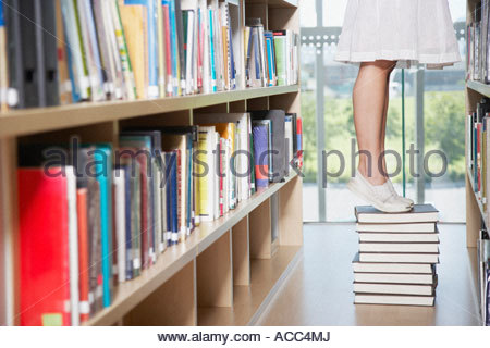 Teenage girl in library at school with books - Stock Photo