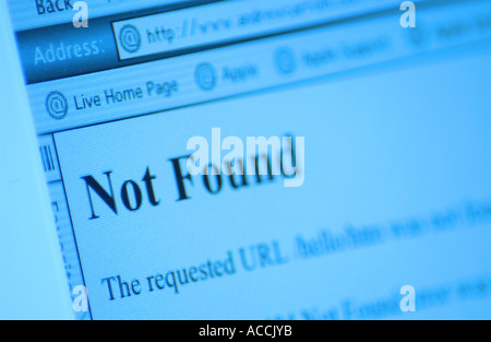 a url not found warning on a computer screen - Stock Photo