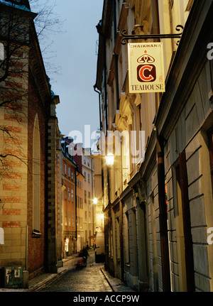 An alley in Stockholm Old Town. - Stock Photo