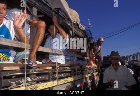 Pilgrimage to Juazeiro do Norte city at Ceara State in Brazil. Tough conditions of transportation by truck - Stock Photo