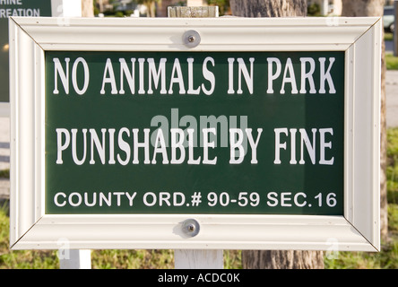 No Animals in Park Punishable By Fine Sign USA - Stock Photo