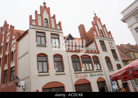 Gabled building  at the market place of Wismar Mecklenburg West Pomerania Germany - Stock Photo