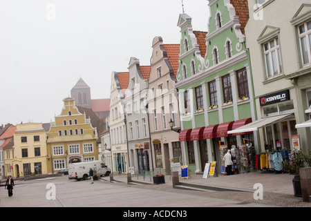 Gabled buildings in Wismar, Mecklenburg Vorpommern, Germany EU - Stock Photo