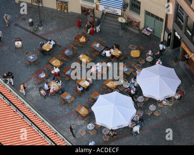 Munich from up on the top of St peter church Marienplatz  sunshade  white - Stock Photo
