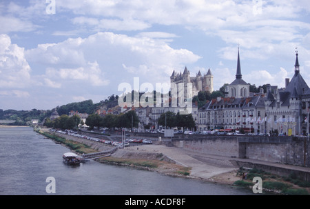 Panoramic view of the city of Saumur on the south bank of the Loire river Loire valley France - Stock Photo