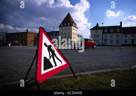 Road sign on the Poundbury estate in Dorchester town Dorset county England UK - Stock Photo