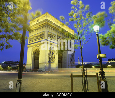 geography / travel, France, Paris, Arc de Triomphe, triumphal arch, illuminated, at night, nightshot, Additional - Stock Photo