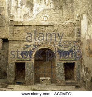 geography / travel, Italy, Naples, Ercolano, Herculaneum, Casa del Mosaico di Nettuno e Anfitrite, wall mosaic, - Stock Photo