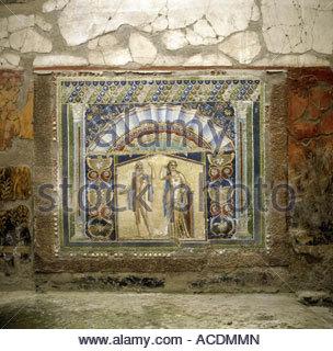 geography / travel, Italy, Naples, Ercolano, Herculaneum, Casa del Mosaico di Nettuno e Anfitrite, wall mosaic with - Stock Photo