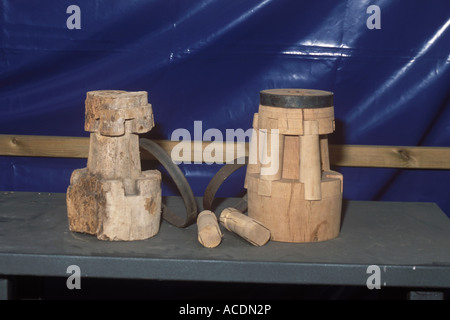 Exhibition of wood craft restoration work being carried out by the Environment department of the Council of Mallorca - Stock Photo