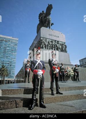 Montevideo Uruguay Honour guard at monument mausoleum of General Jose Artigas - Stock Photo