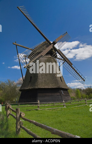 Old windmill. he Funen Village. Odense. Denmark - Stock Photo