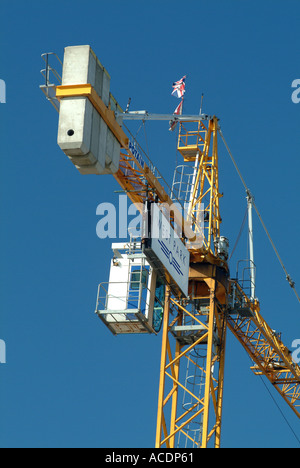 Huge Crane on Building Site in St Helier Jersey Channel Islands - Stock Photo