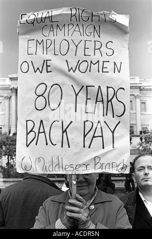 Equal Rights Campaign Women demand Equal Pay for Equal Work demonstration Trafalgar Square London 1968 HOMER SYKES - Stock Photo