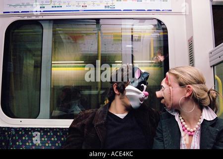 Couple wearing face masks - Stock Photo