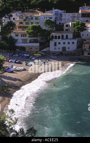 Aerial view of the beach at Sa Tuna, Costa Brava, Spain. - Stock Photo