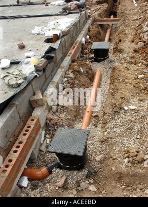 Part Of Foul Drainage System For New House With Plastic