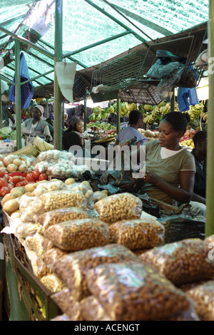 Stallholder selling nuts in the central Municipal Market, Maputo, - Stock Photo