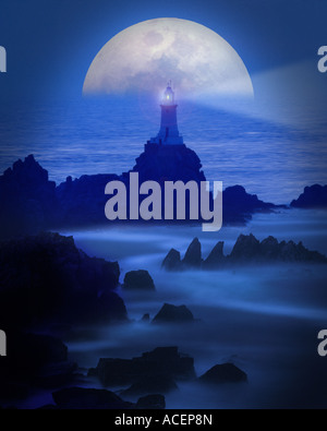 GB - JERSEY: Moon over La Corbiere Lighthouse - Stock Photo