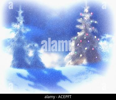 DIGITAL ART:  Christmas Scene near Ettal in Bavaria - Stock Photo