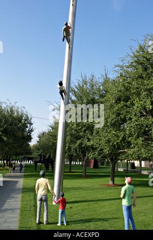 TEXAS Dallas Walking to the Sky Nasher Sculpture Center museum outdoor sculpture garden Jonathan Borofsky - Stock Photo