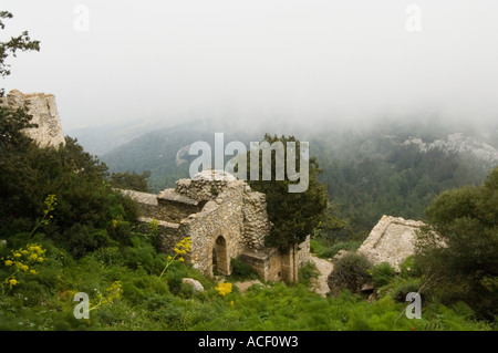 Kantara, Kalesi, Castle, the north-east tower on the left and the Karpas peninsula in the distance, Northern Cyprus, - Stock Photo