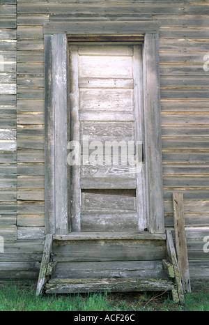 Door of abandoned house in John Day Fossil Beds National Monument Oregon USA - Stock Photo