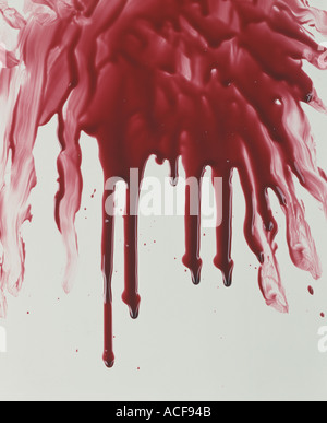 Bloody mess blood splatered on a wall - Stock Photo