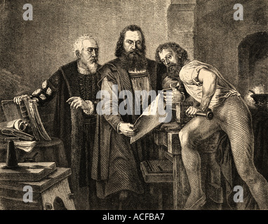 Johann Fust or Faust c.1400 - 1466, John Gutenberg, 1400 -1468 and Peter Schoeffer or Petrus Schoeffer. c. 1425 - Stock Photo