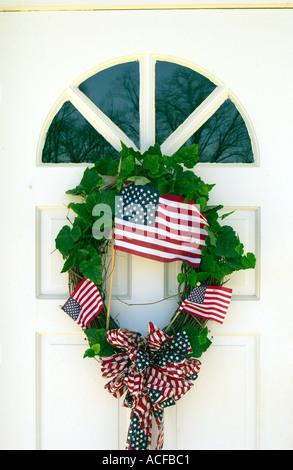 Patriotic wreaths on church doors in rural Georgia, USA. - Stock Photo