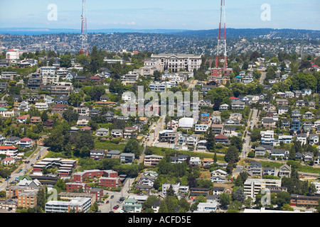 View North from Space Needle Queen Anne Hill Seattle Washington - Stock Photo