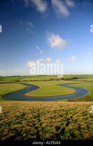 The Cuckmere River Haven, South Downs Way, 7 Sisters Cliffs, Sussex, England, Britain, UK - Stock Photo