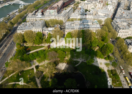 view from the second platform of the Eiffel tower on a sunny summer day; paris, france. - Stock Photo