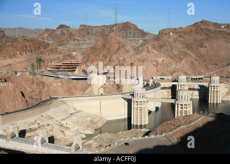 Hoover dam in the black canyon Colorado river on the Nevada, Arizona border, USA, us, - Stock Photo