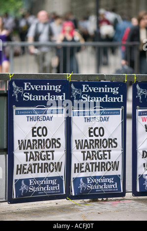 Newspaper headline in London UK about climate change protestors targeting Heathrow Airport - Stock Photo