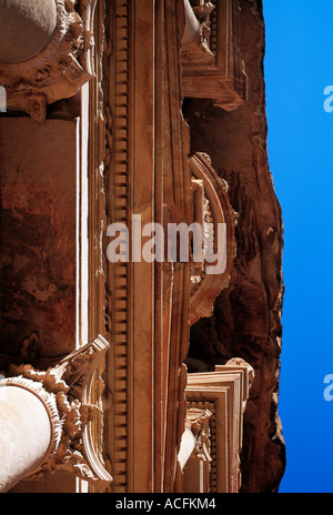 famous sculptured building in the mountains of jordon, - Stock Photo