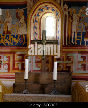 The alter at the church at Hjerl Hede open air museum near Sevel in western Jutland - Stock Photo