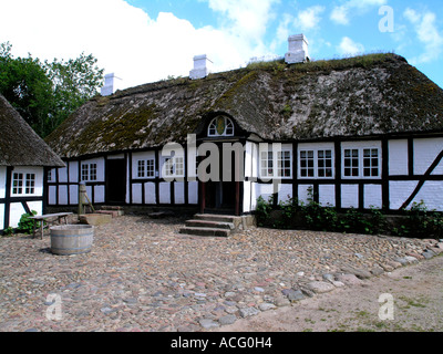Old village inn Half timbered with straw roof Hjerl Hede open air museum Sevel jutland Denmark - Stock Photo
